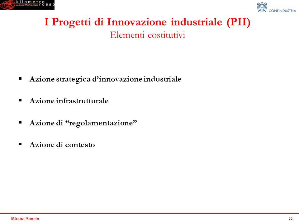 I Progetti di Innovazione industriale (PII) Elementi costitutivi