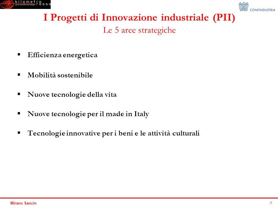 I Progetti di Innovazione industriale (PII) Le 5 aree strategiche