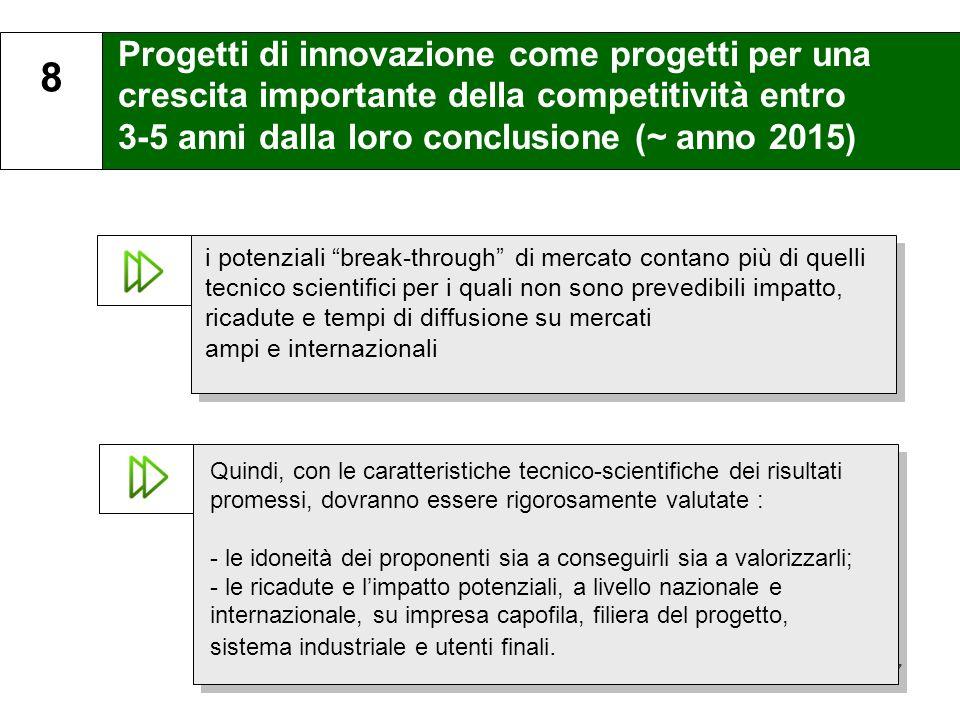 8 Progetti di innovazione come progetti per una crescita importante della competitività entro 3-5 anni dalla loro conclusione (~ anno 2015)