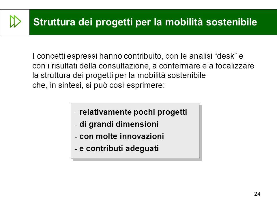Struttura dei progetti per la mobilità sostenibile