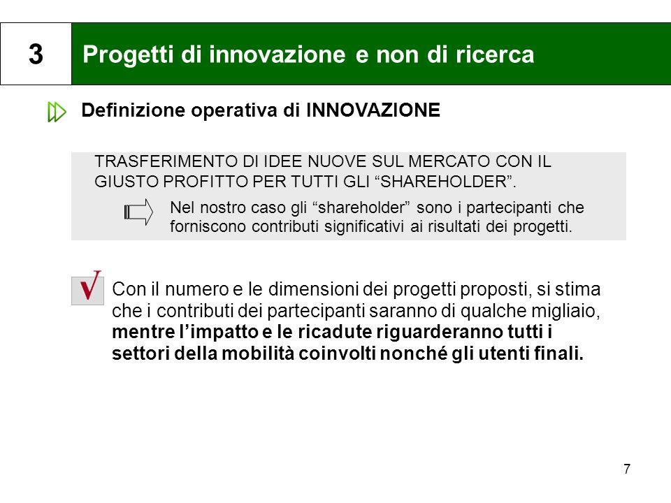 Progetti di innovazione e non di ricerca