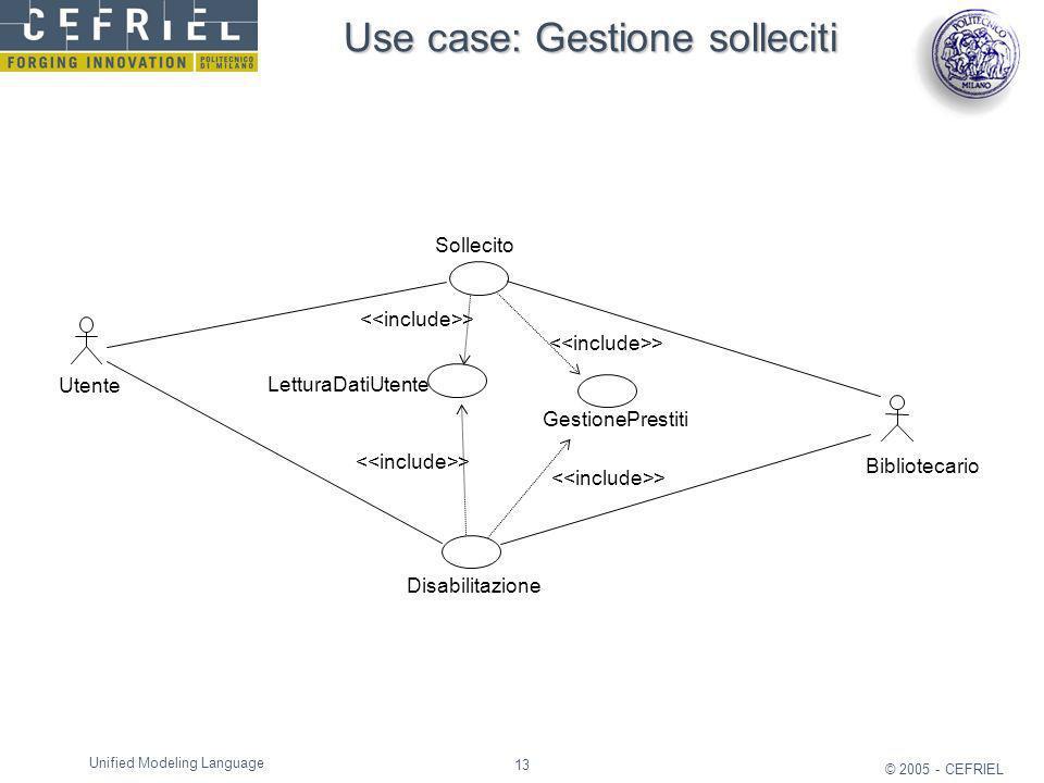 Use case: Gestione solleciti