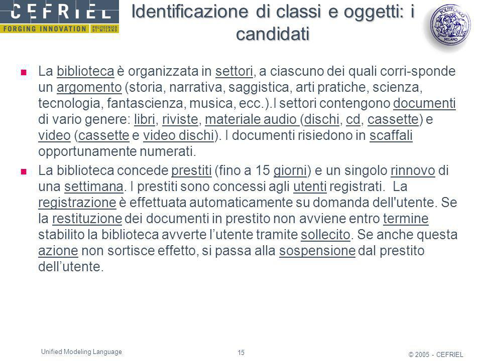 Identificazione di classi e oggetti: i candidati