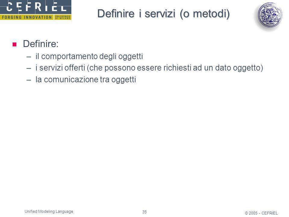 Definire i servizi (o metodi)
