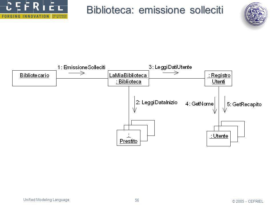 Biblioteca: emissione solleciti