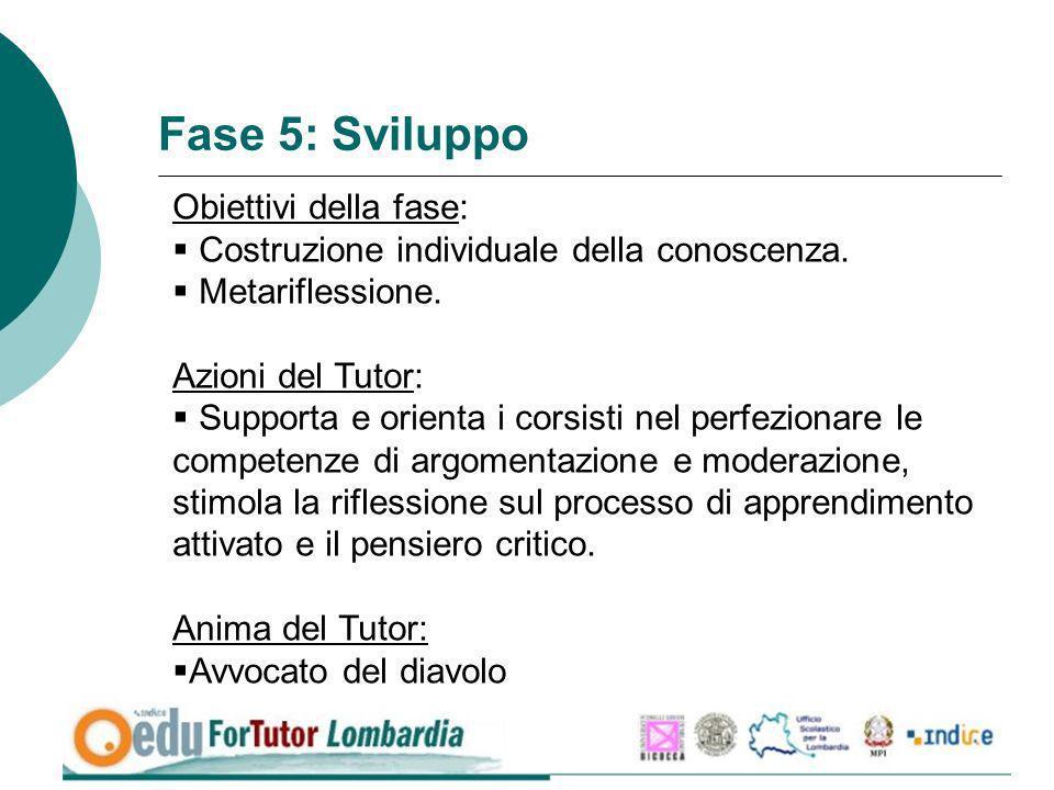 Fase 5: Sviluppo Obiettivi della fase: