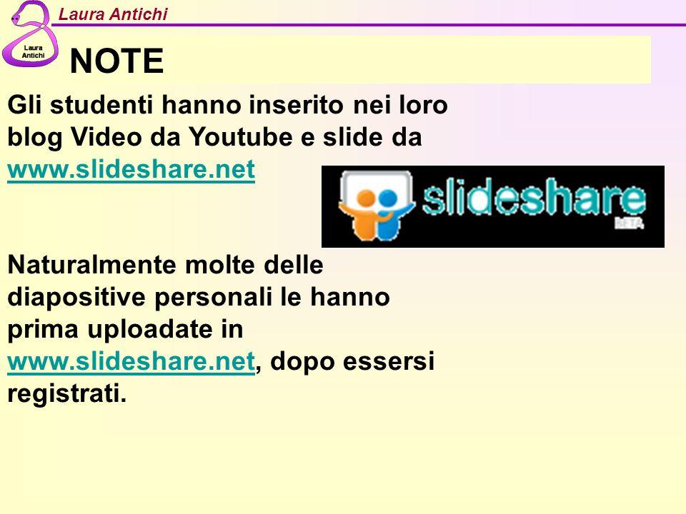 NOTE Gli studenti hanno inserito nei loro blog Video da Youtube e slide da www.slideshare.net.