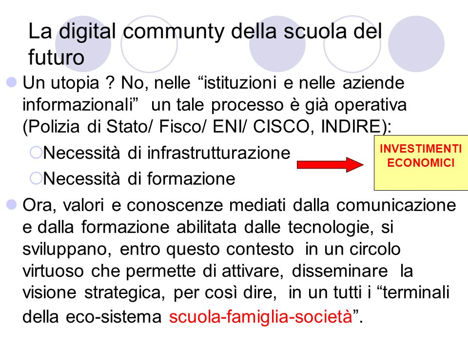 La digital communty della scuola del futuro