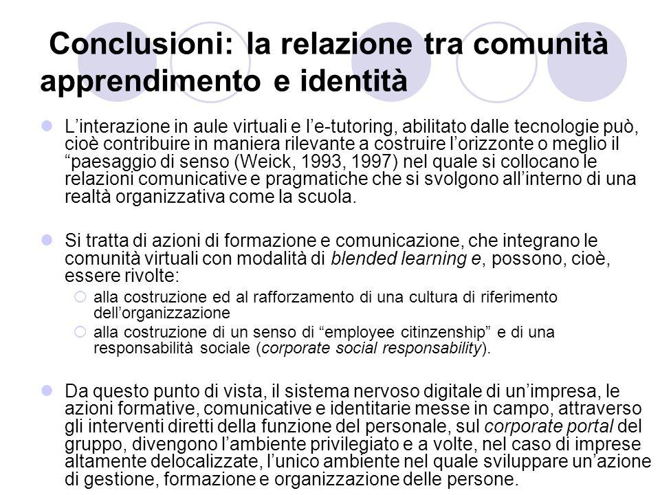 Conclusioni: la relazione tra comunità apprendimento e identità