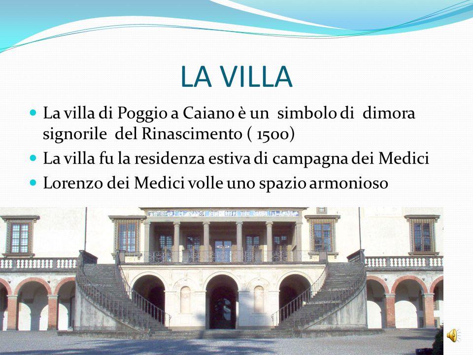 LA VILLA La villa di Poggio a Caiano è un simbolo di dimora signorile del Rinascimento ( 1500)