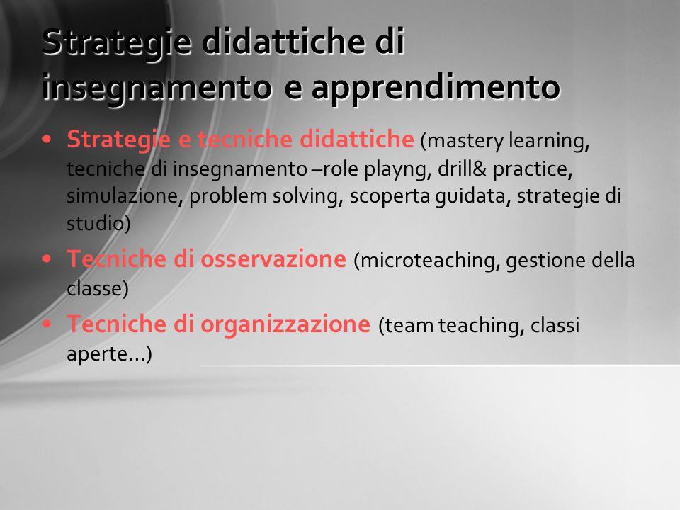 Strategie didattiche di insegnamento e apprendimento