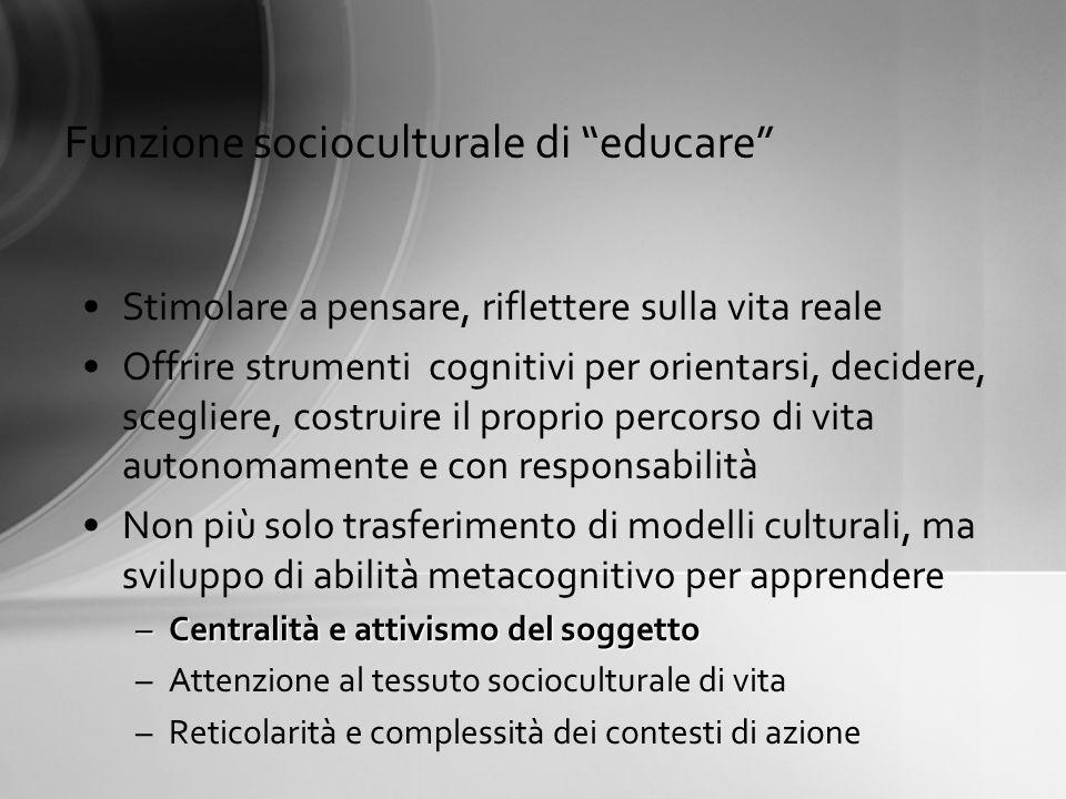 Funzione socioculturale di educare
