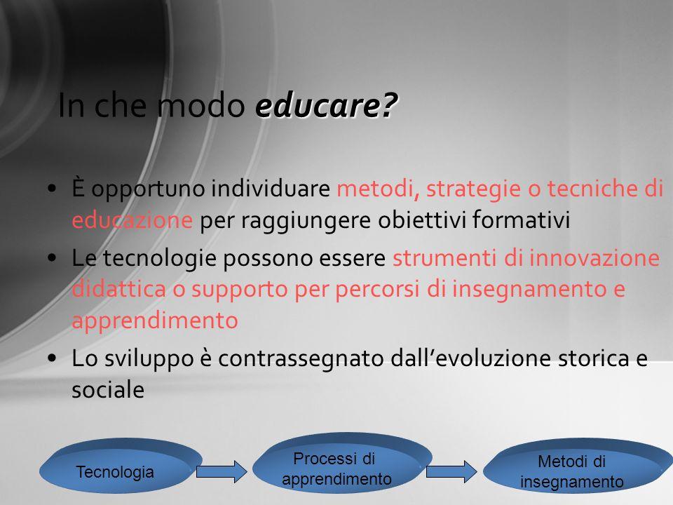 In che modo educare È opportuno individuare metodi, strategie o tecniche di educazione per raggiungere obiettivi formativi.