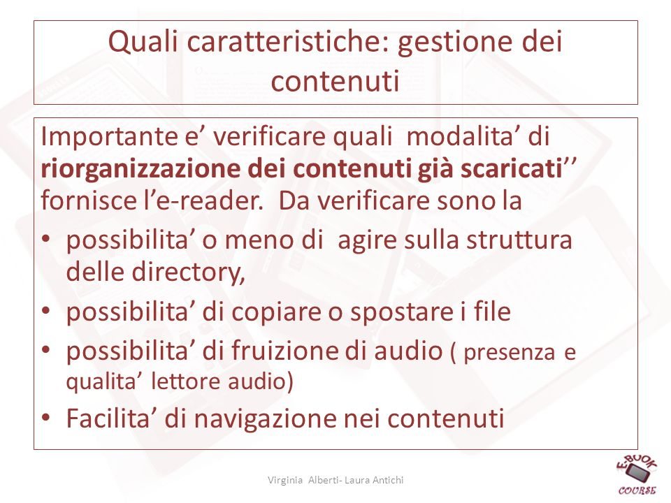 Quali caratteristiche: gestione dei contenuti