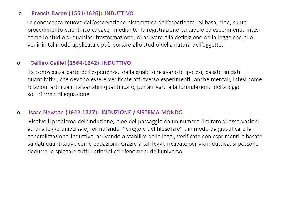 o Francis Bacon (1561-1626): INDUTTIVO La conoscenza muove dall'osservazione sistematica dell'esperienza.
