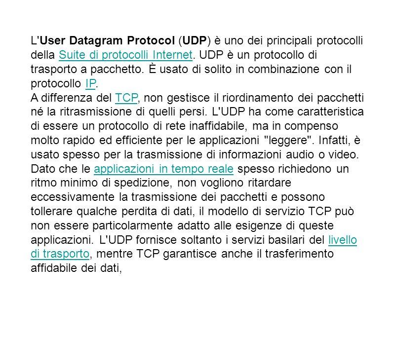 L User Datagram Protocol (UDP) è uno dei principali protocolli della Suite di protocolli Internet. UDP è un protocollo di trasporto a pacchetto. È usato di solito in combinazione con il protocollo IP.