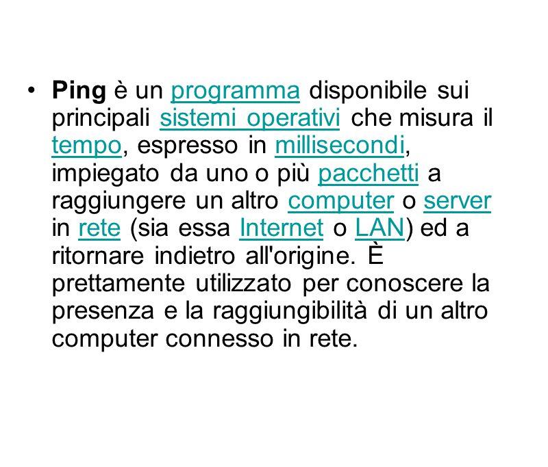 Ping è un programma disponibile sui principali sistemi operativi che misura il tempo, espresso in millisecondi, impiegato da uno o più pacchetti a raggiungere un altro computer o server in rete (sia essa Internet o LAN) ed a ritornare indietro all origine.