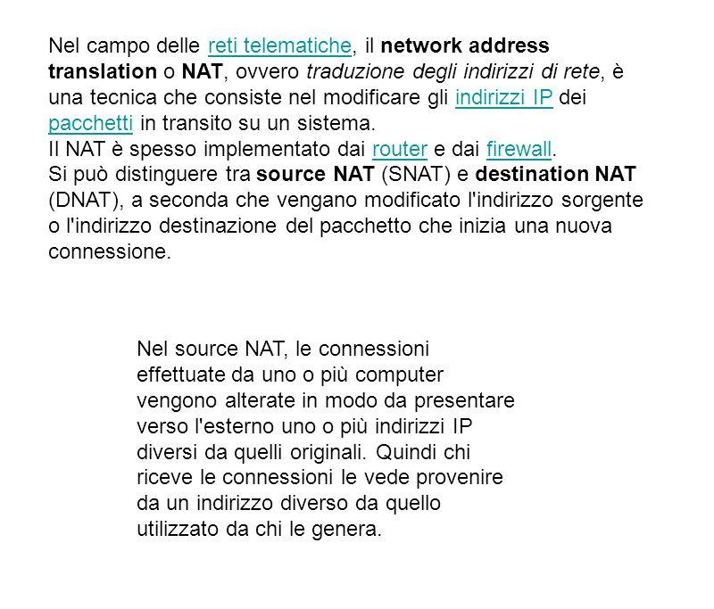 Nel campo delle reti telematiche, il network address translation o NAT, ovvero traduzione degli indirizzi di rete, è una tecnica che consiste nel modificare gli indirizzi IP dei pacchetti in transito su un sistema.