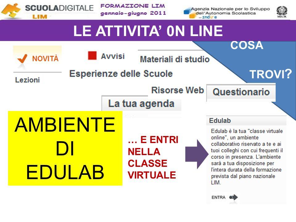 AMBIENTE DI EDULAB LE ATTIVITA' 0N LINE COSA TROVI