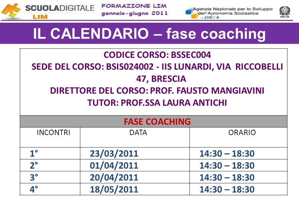 IL CALENDARIO – fase coaching TUTOR: PROF.SSA LAURA ANTICHI