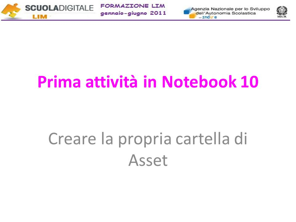 Prima attività in Notebook 10