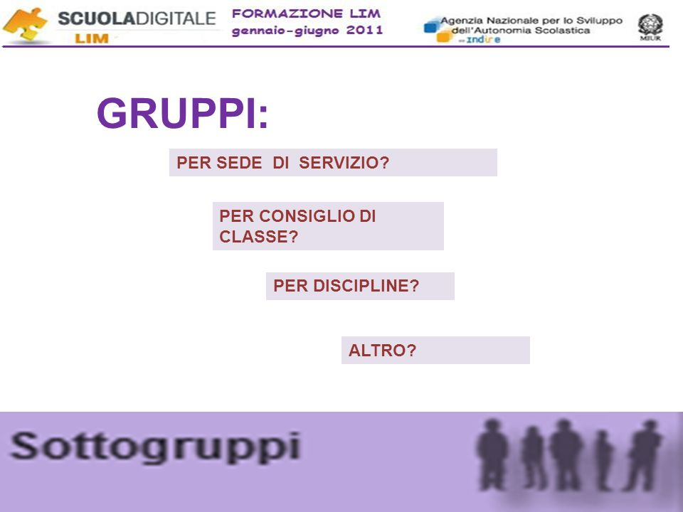 GRUPPI: PER SEDE DI SERVIZIO PER CONSIGLIO DI CLASSE PER DISCIPLINE