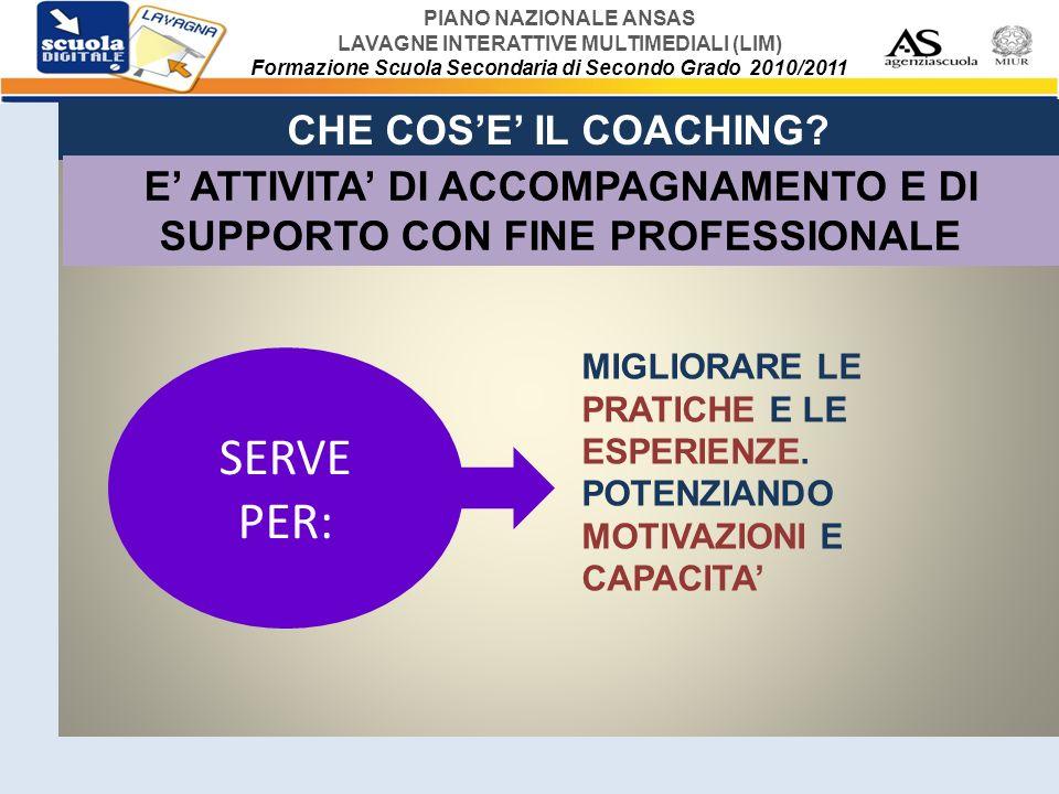 E' ATTIVITA' DI ACCOMPAGNAMENTO E DI SUPPORTO CON FINE PROFESSIONALE