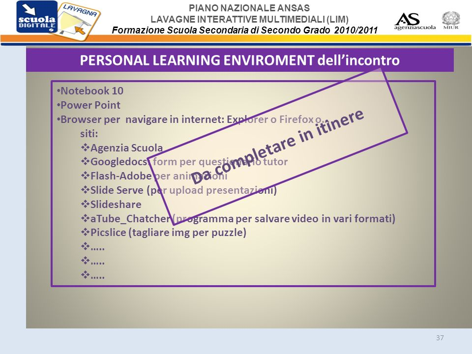 PERSONAL LEARNING ENVIROMENT dell'incontro Da completare in itinere