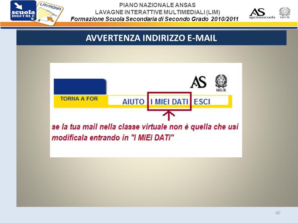 AVVERTENZA INDIRIZZO E-MAIL