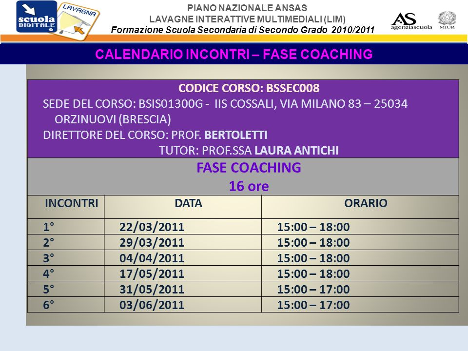 CALENDARIO INCONTRI – FASE COACHING