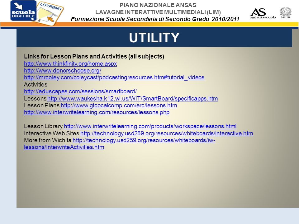 UTILITY Links for Lesson Plans and Activities (all subjects)
