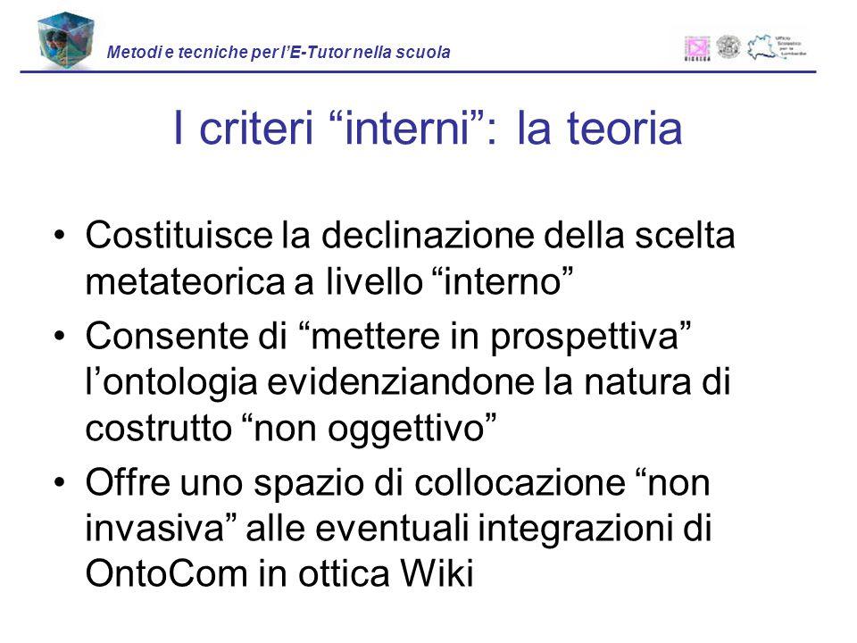 I criteri interni : la teoria