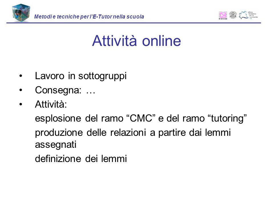 Attività online Lavoro in sottogruppi Consegna: … Attività: