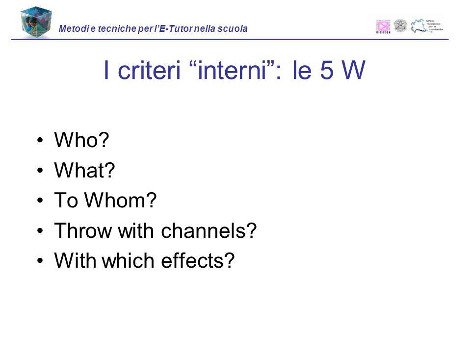 I criteri interni : le 5 W