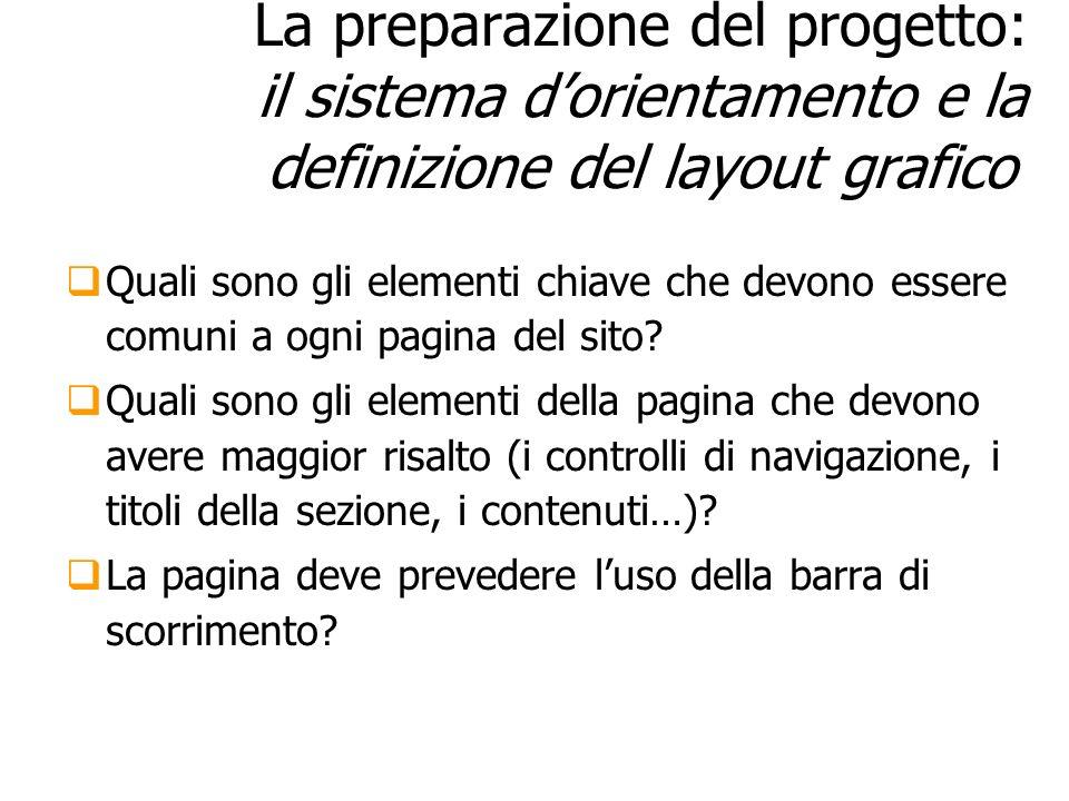 27/03/2017 La preparazione del progetto: il sistema d'orientamento e la definizione del layout grafico.