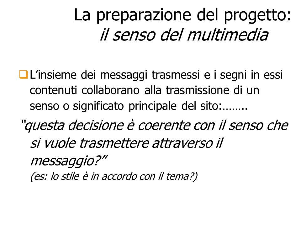 La preparazione del progetto: il senso del multimedia