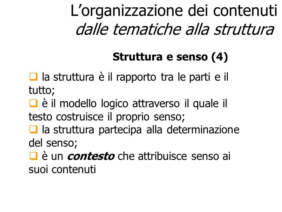 L'organizzazione dei contenuti dalle tematiche alla struttura