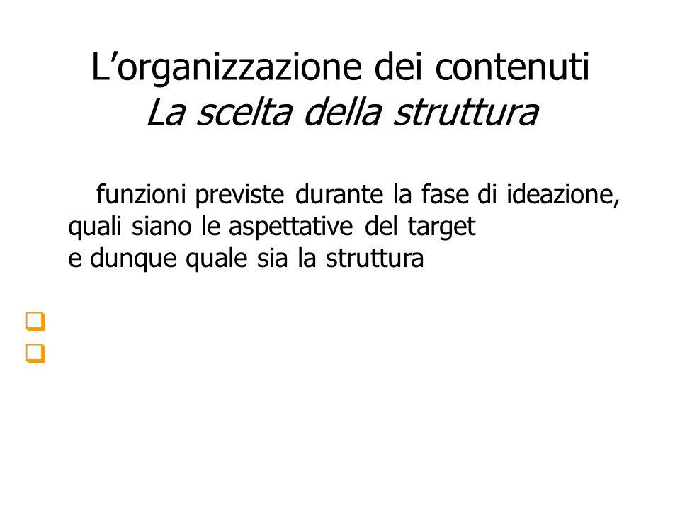 L'organizzazione dei contenuti La scelta della struttura