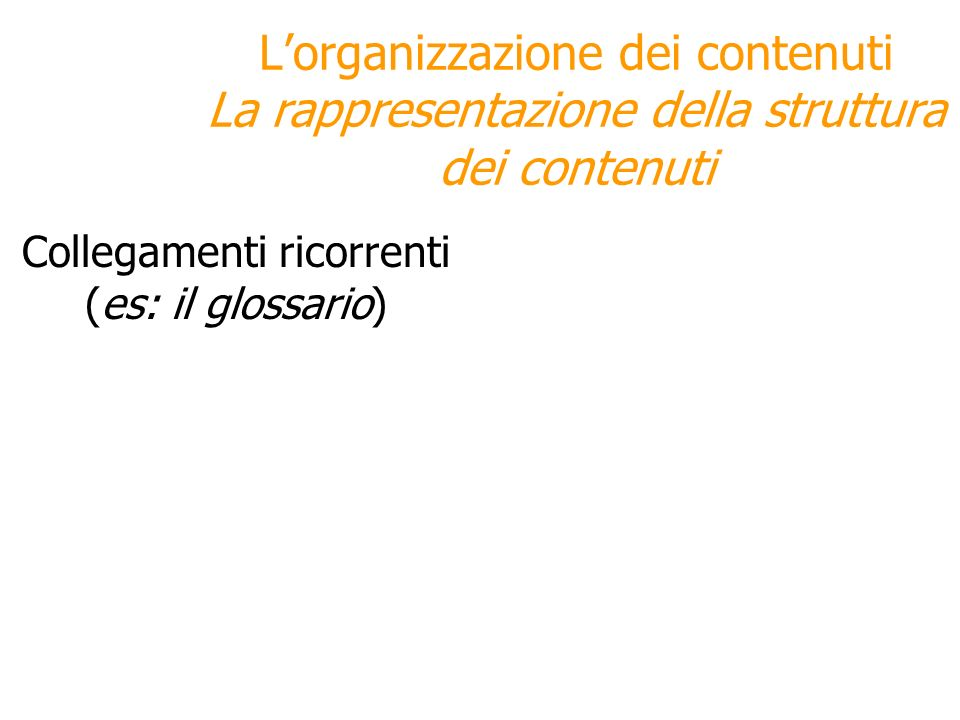 Collegamenti ricorrenti (es: il glossario)