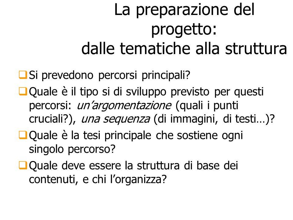 La preparazione del progetto: dalle tematiche alla struttura