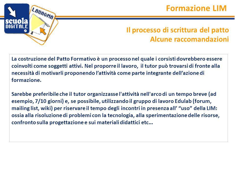 Formazione LIM Il processo di scrittura del patto