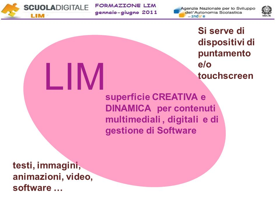 LIM Si serve di dispositivi di puntamento e/o touchscreen