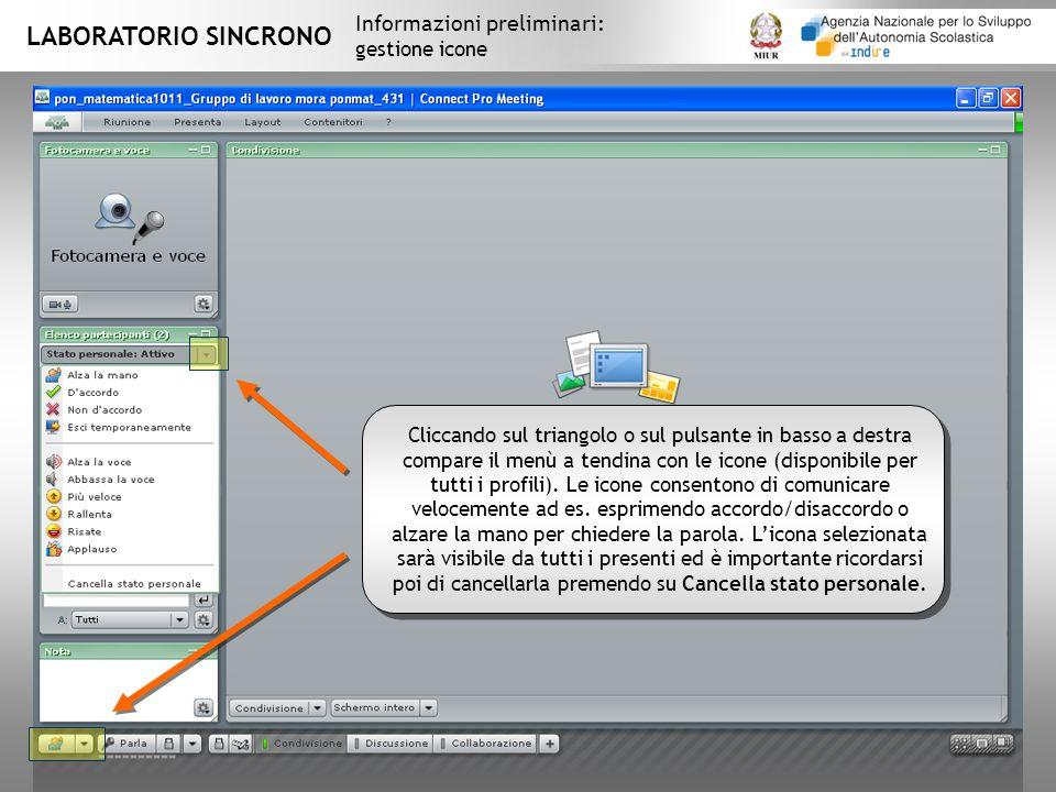 LABORATORIO SINCRONO Informazioni preliminari: gestione icone