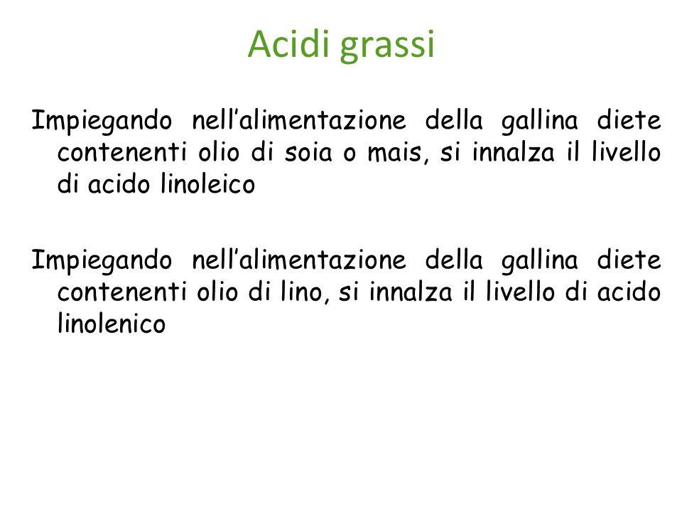 Acidi grassi Impiegando nell'alimentazione della gallina diete contenenti olio di soia o mais, si innalza il livello di acido linoleico.