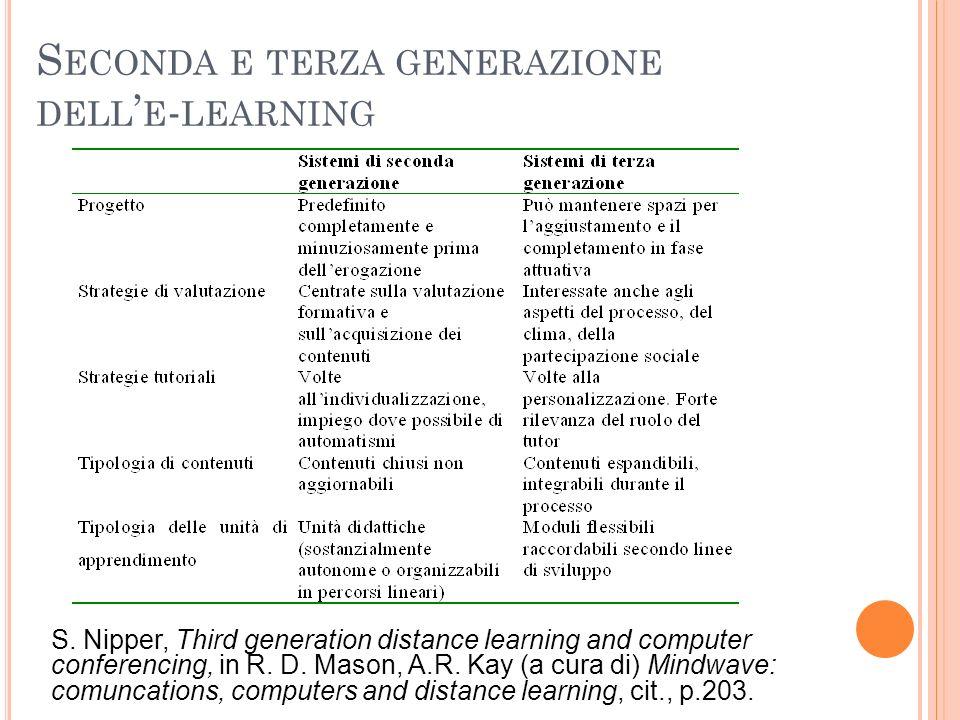 Seconda e terza generazione dell'e-learning