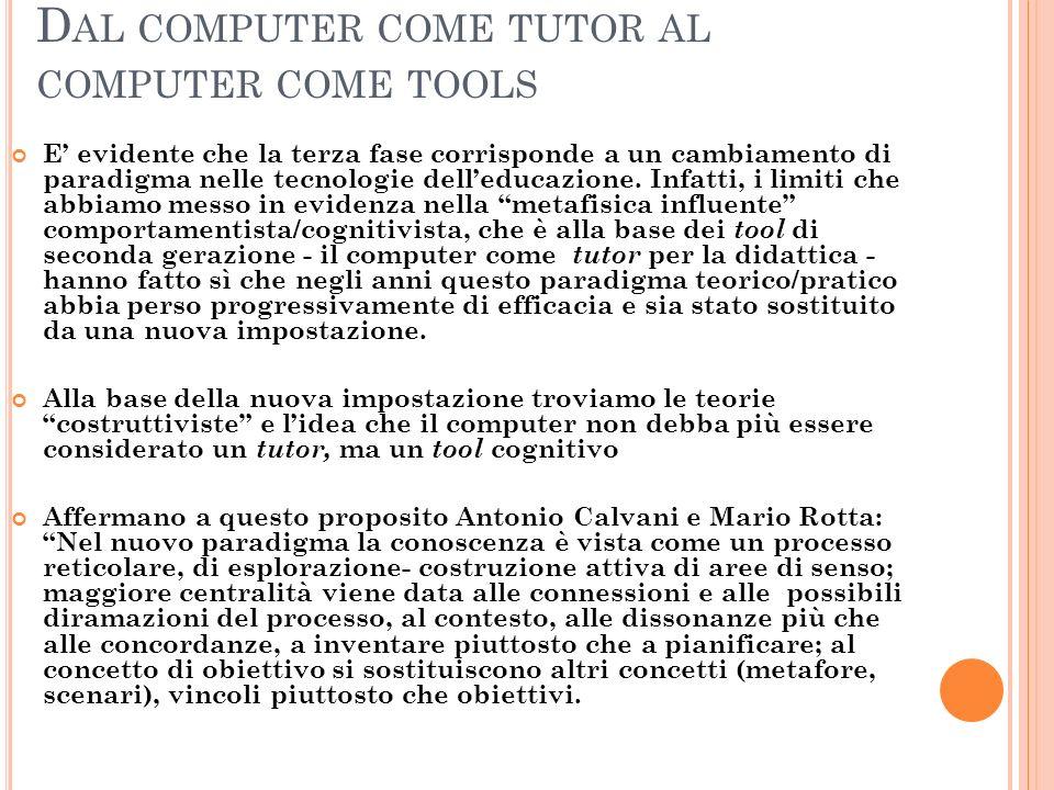 Dal computer come tutor al computer come tools
