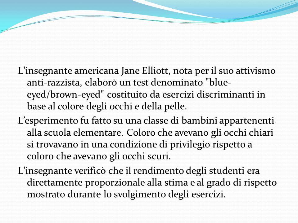 L insegnante americana Jane Elliott, nota per il suo attivismo anti-razzista, elaborò un test denominato blue-eyed/brown-eyed costituito da esercizi discriminanti in base al colore degli occhi e della pelle.