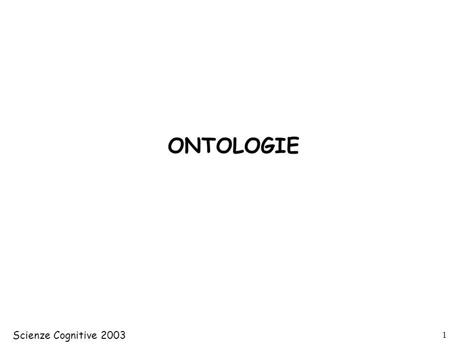 ONTOLOGIE Scienze Cognitive 2003 Scienze Cognitive 2002/03