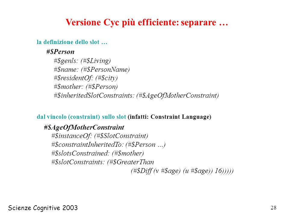 Versione Cyc più efficiente: separare …