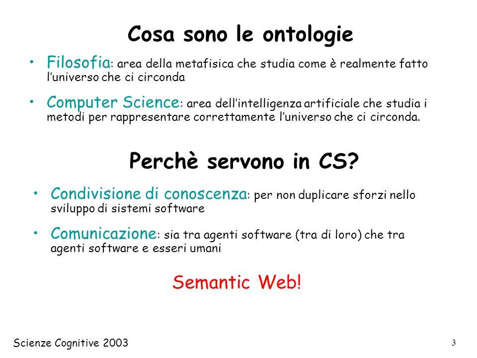 Cosa sono le ontologie Perchè servono in CS